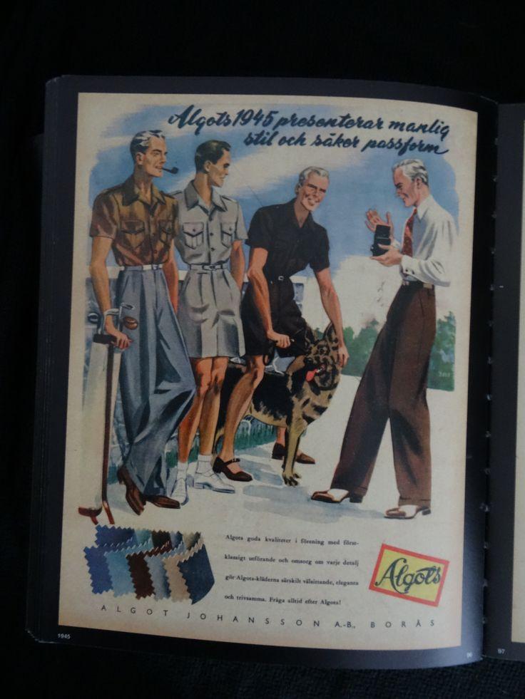"""Reklam för Algots (Algot Johansson A.-B., Borås) 1945. """"Algots 1945 presenterar manlig stil och säker passform""""."""