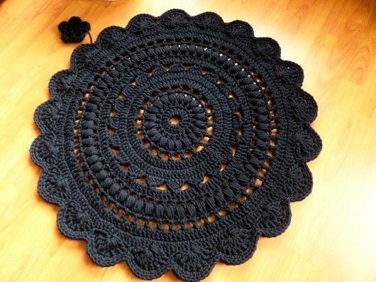 Dywan wykonany ręcznie na szydełku 90 cm