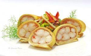 Gamberoni con lardo di colonnata in crosta di pancarrè