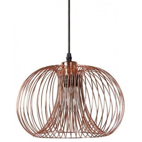 Miedziana metalowa lampa wisząca Vinti Cooper Round w nowoczesnym stylu. http://blowupdesign.pl/pl/35-lampy-klatki-metalowe-loft-design #lampywiszące #lampymiedziane #lampyklatki #modneoświetlenie #cagelamps #cooperlamps #pendantlamps #lightingstore