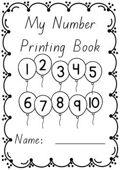 Numbers 1 to 10 printing/handwriting work booklets in Beginners font.