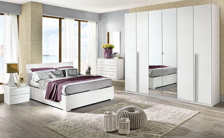 La camera matrimoniale Eleonora con battente effetto bianco larice dona eleganza alla tua casa.