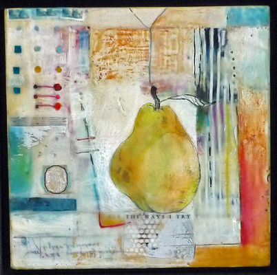"'The Ways I Try' Andrea Bird 10""x10"" Encaustic Collage on wood 2011"