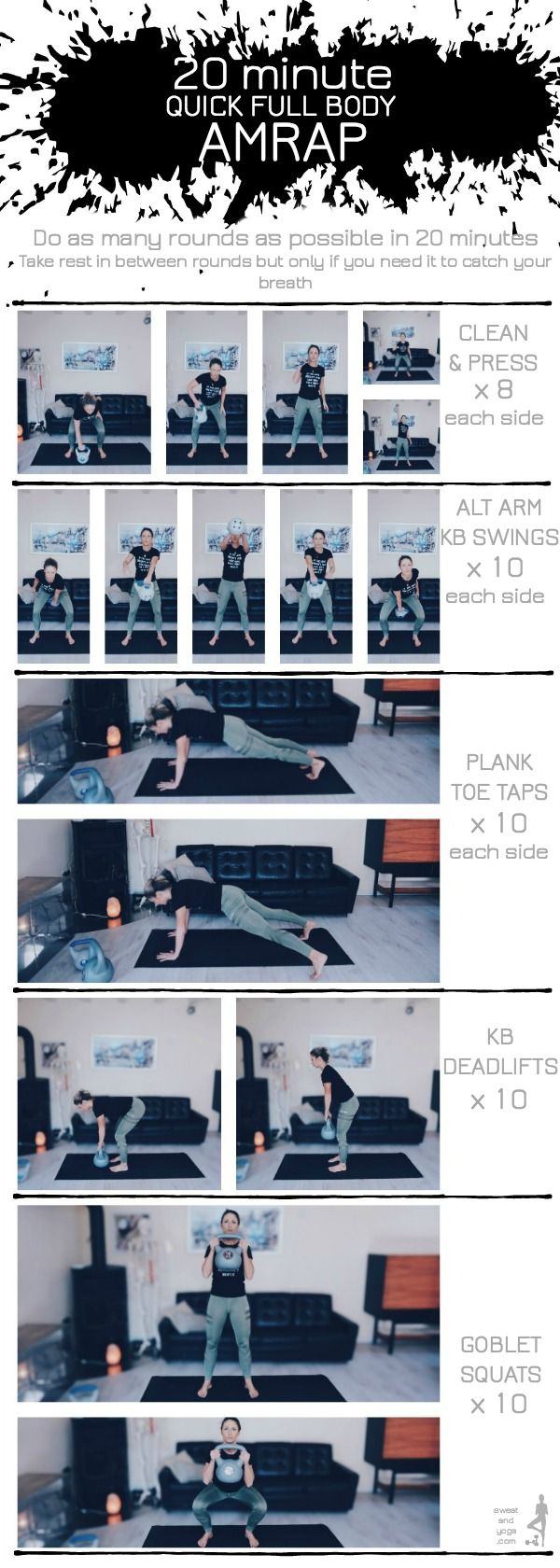 Full body 20 minute AMRAP - quick workout using kettlebells| Posted By: CustomWeightLossProgram.com