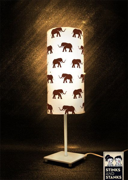 Fun elephant shade...could make a stencil and DIY on any shade.