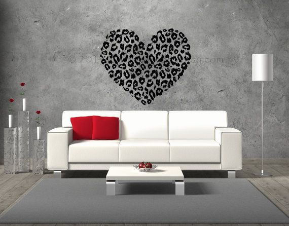 Cheetah Print Heart Wall Decal Vinyl Decal Wall By ValdonImages
