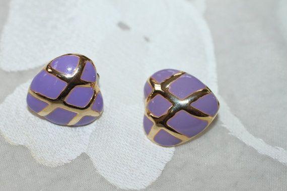 Goldtone Purple Heart Clip On Earrings by GrammaCsCloset on Etsy