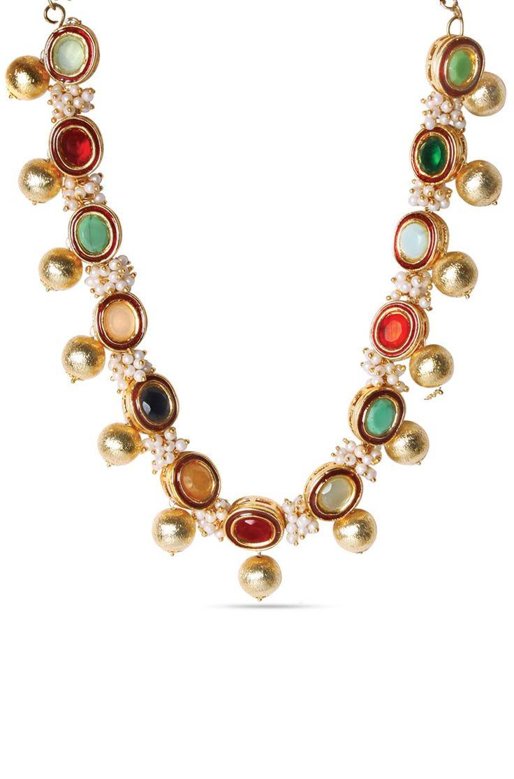 Navratan Haar Rs. 2275/- http://www.juvalia.in/collection/60-s-flawless-fashionista/navratan-haar.html