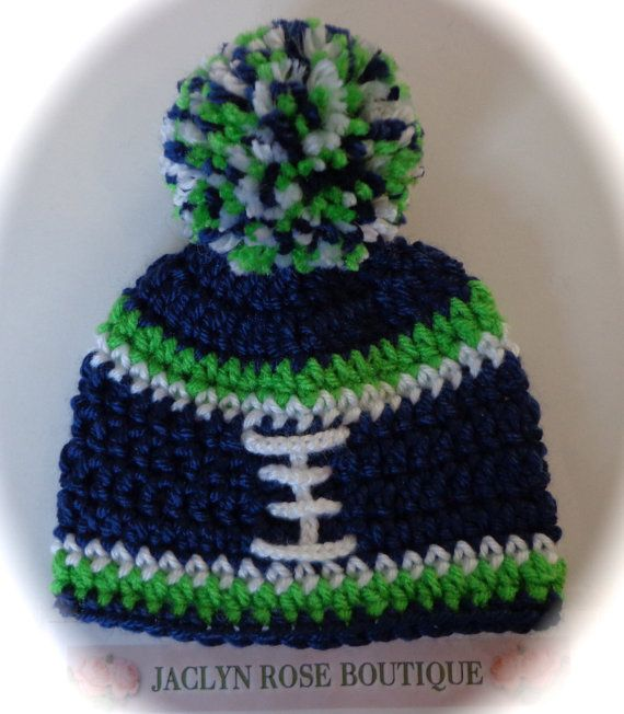 Crochet baby FOOTBALL hat Dallas Cowboys seattle seahawks pittsburgh steelers newborn 0-3  3-6 6-9 month infant  boy or girl pom pom  photo