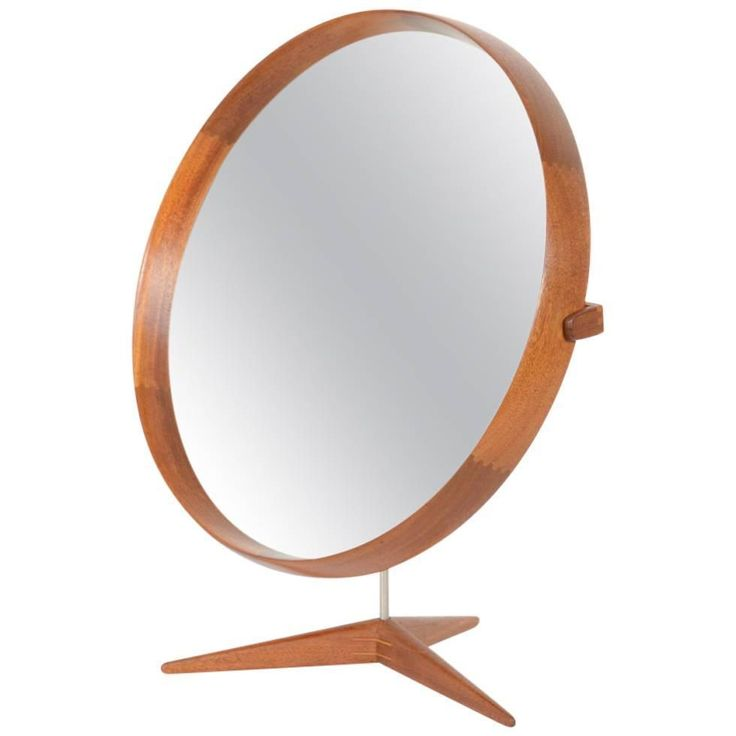 Teak Table Mirror by Uno and Osten Kristiansson for Luxus | From a unique collection of antique and modern table mirrors at https://www.1stdibs.com/furniture/mirrors/table-mirrors/