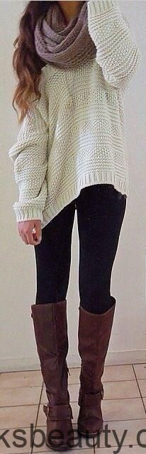 #fall # outfits / off-the-Shoulder-Strick + Schal