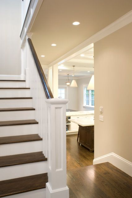 stair banister and the white and dark wood combo.