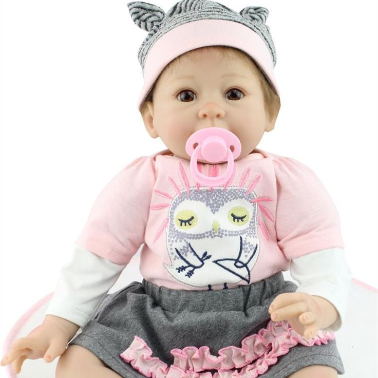 122.40$  Watch now - http://ali9sp.worldwells.pw/go.php?t=32720501870 - 22 Inches 50-55cm Handmade Silicone Newborn Girl Dolls Realistic Reborn Baby Dolls For Adoption Lifelike Dolls For Kids Toys 122.40$