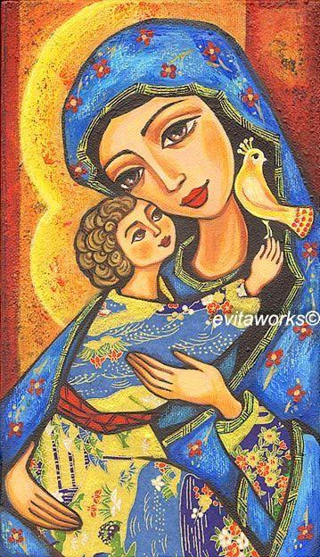 Icon Painting Religious Folk Art Christianity Bird Dove Mary with Jesus   Mothe