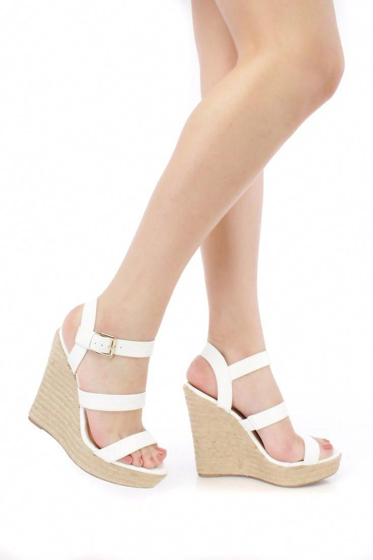 d8fa1da24 White Strappy Open Toe Espadrille Platform Wedges Faux Leather #Promshoes