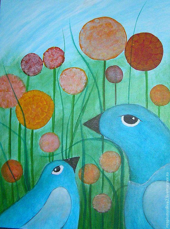 Купить Картина Синие птички цветы в траве 35х45 - одуванчики, цветы, Живопись, для квартиры, травы