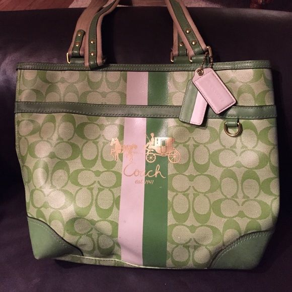 coach purse outlet store vgy8  Green Signature Coach Purse Great for toting around everything you need for  the day! Lots