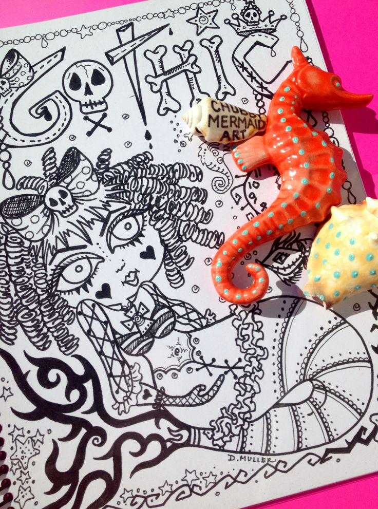 chubby mermaid art on etsycom coloring books mermaid coloringadult coloringcoloring booksmermaid artcreate your ownmermaidszentanglegothic