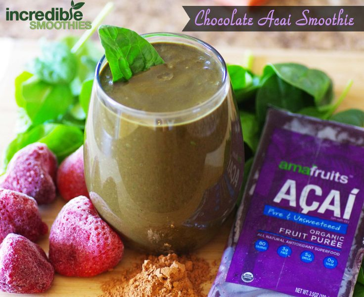 Chocolate-Acai smoothie! Follow this link for the recipe -> http://on.fb.me/1qPfof4