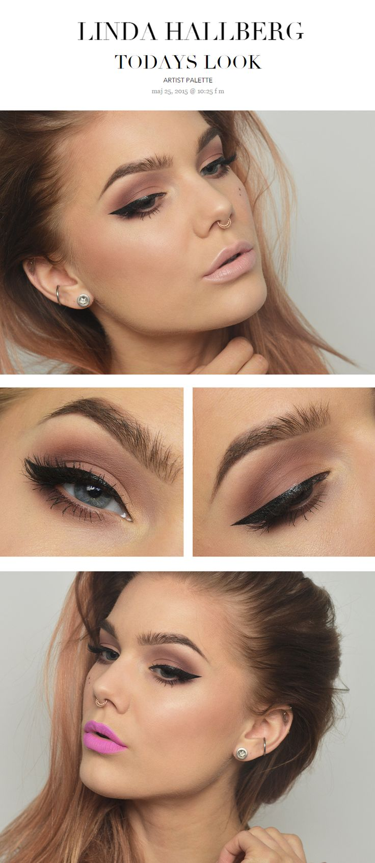 TODAYS LOOK 189 - ARTIST PALETTE by Linda Hallberg http://lindahallberg.se/  Products used; NYX proofit waterproof eyeshadow primer, Anastasia artist palette, Kat von d ink liner Trooper, Strip lash Russet feather by Katosu #eye #makeup #eyeshadow