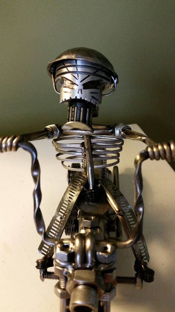 Custom Made Scrap Metal Art Harley Motorcycle By