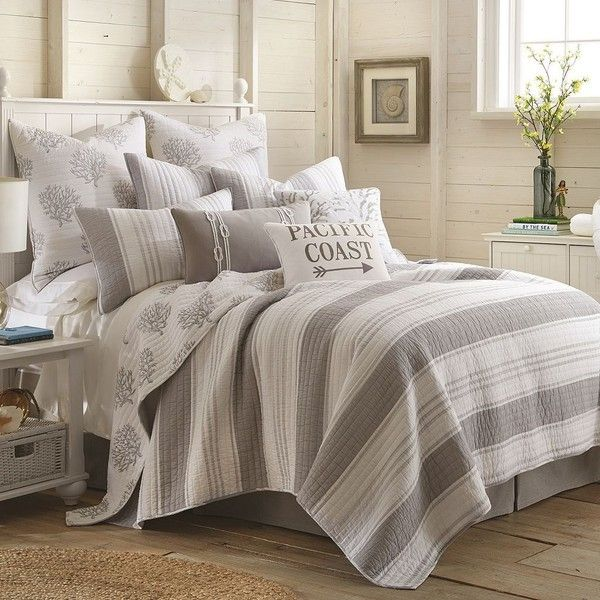 Levtex Nantucket Quilt Set, Grey (39.775 HUF) ❤ liked on Polyvore featuring home, bed & bath, bedding, quilts, grey, king size quilt sets, king quilt set, king size pillow shams, king pillow shams and queen quilt set