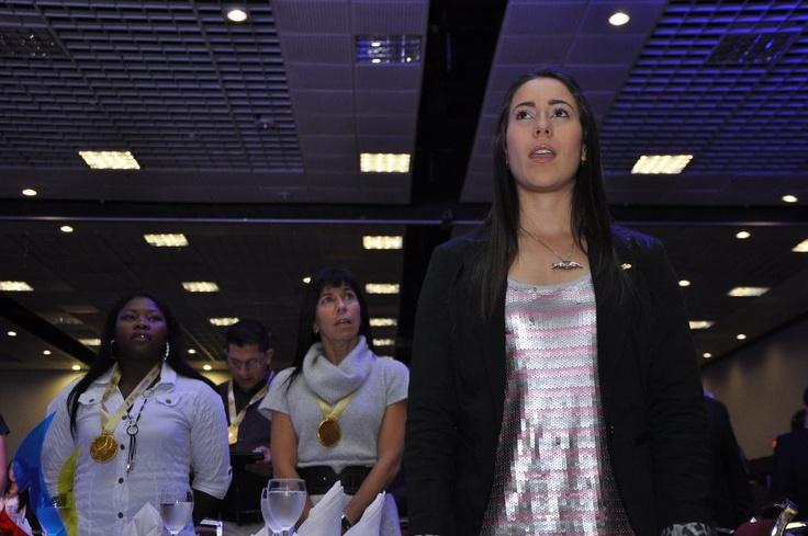 La ganadora de la medalla de oro en Londres 2012, Mariana Pajón.