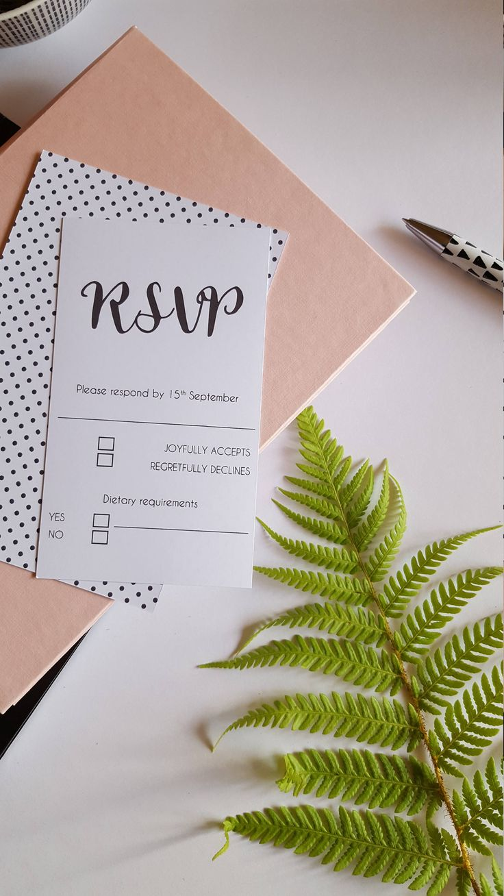 Monochrome RSVP card / Monochrome Wedding / Polka Dot Wedding / Black and White Spot