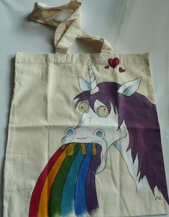 Ręcznie malowana torba z jednorożcem.