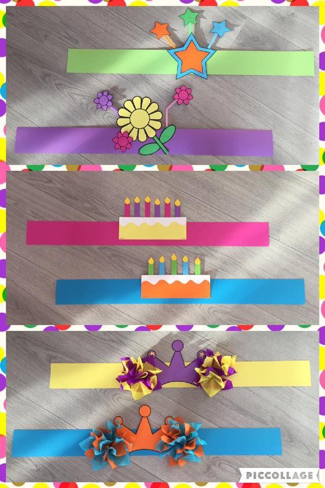 Verjaardagskronen van te voren maken.