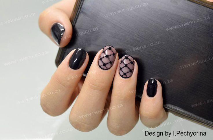 ''Stockings'' effect design on natural nails. www.velena.co.za