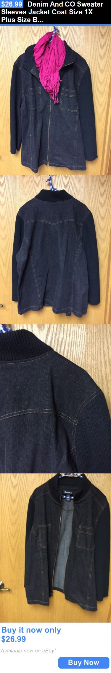 Women Coats And Jackets: Denim And Co Sweater Sleeves Jacket Coat Size 1X Plus Size Black Qvc Gift Womans BUY IT NOW ONLY: $26.99