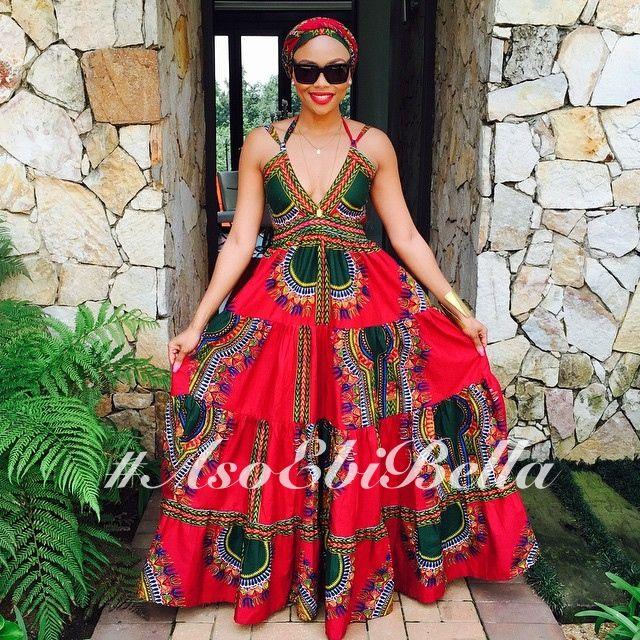 Red & Green Ankara Print Dress ~African fashion, Ankara, kitenge, African women dresses, African prints, Braids, Nigerian wedding, Ghanaian fashion, African wedding ~DKK