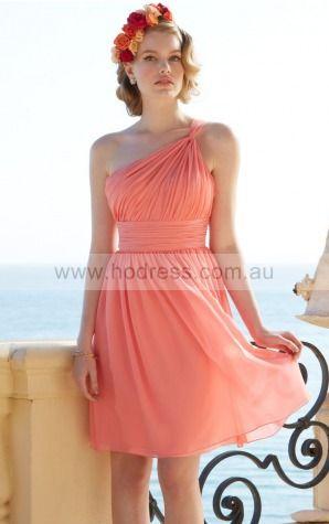 Sleeveless One Shoulder Zipper Chiffon Knee-length Formal Dresses zsh016--Hodress