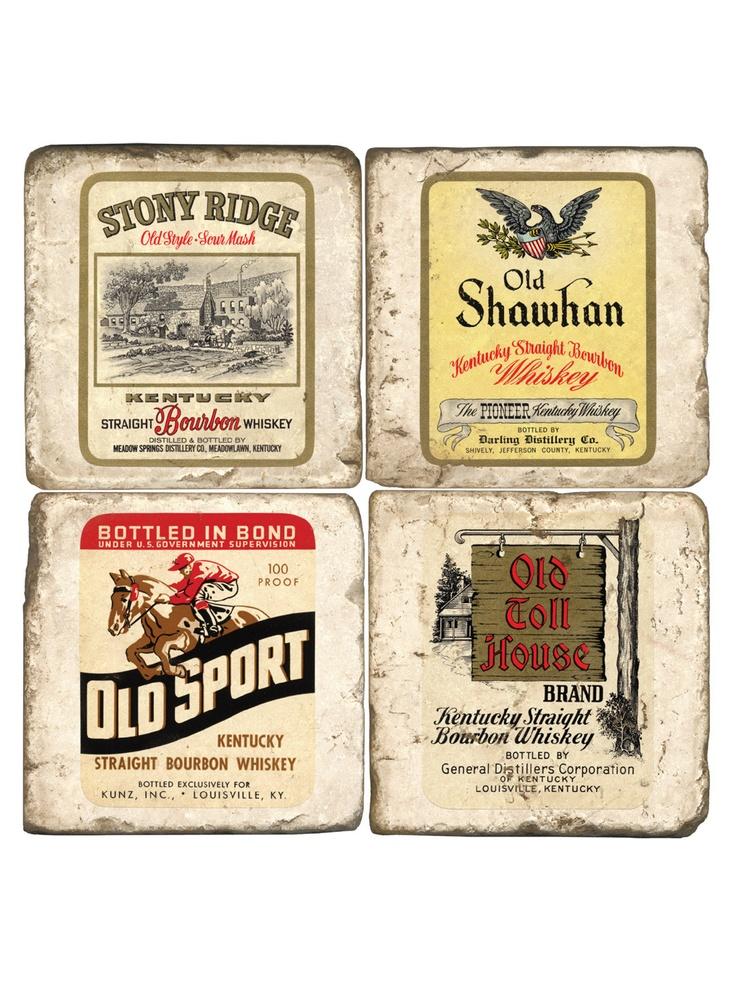 Vintage Bourbon Labels Marble Coaster Set Bar