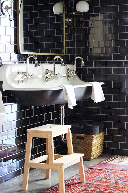 black subway tile inspo