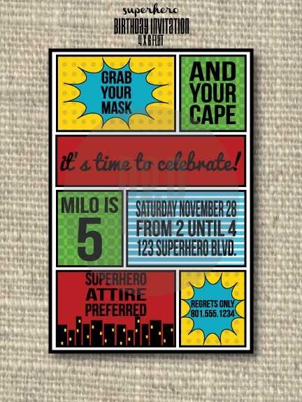 Superhero Printable Invitations by PaperandPleats on Etsy, $7.00