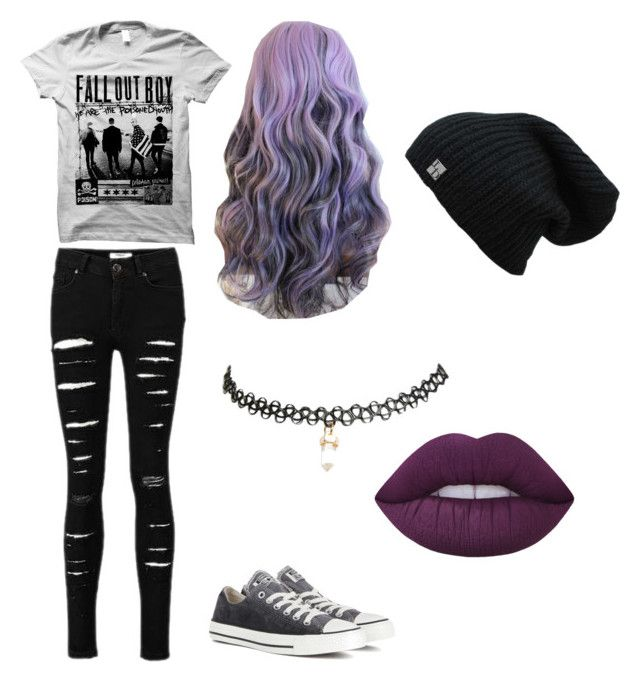 """pop punk princess"" by galaxagal ❤ liked on Polyvore featuring Converse, Wet Seal and Lime Crime"