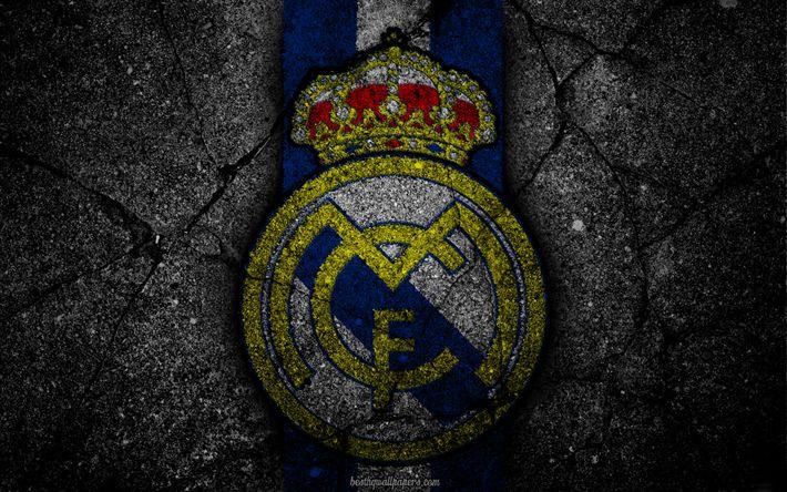 Descargar fondos de pantalla El Real Madrid, el logotipo, el arte, La Liga bbva, fútbol, club de fútbol, LaLiga, el grunge, el Real Madrid FC
