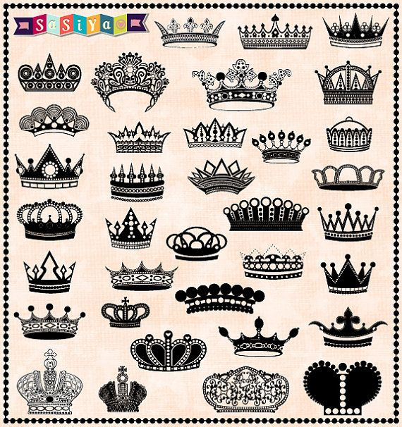 INSTANT DOWNLOAD Digital Silhouette Royal Crown ClipArt Design Element Clip Art Decor Card Making Scapbook Stationary S673 Buy 1 Get 1 Free