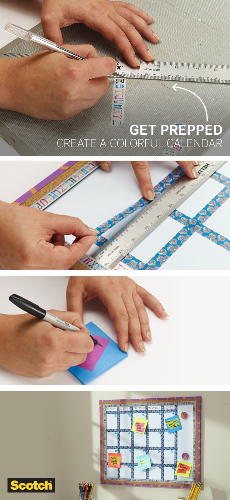 Have a busy schedule? Create an eye-catching calendar with this Scotch Expressions washi tape craft. It's an easy DIY idea sure to keep your tasks on plan.
