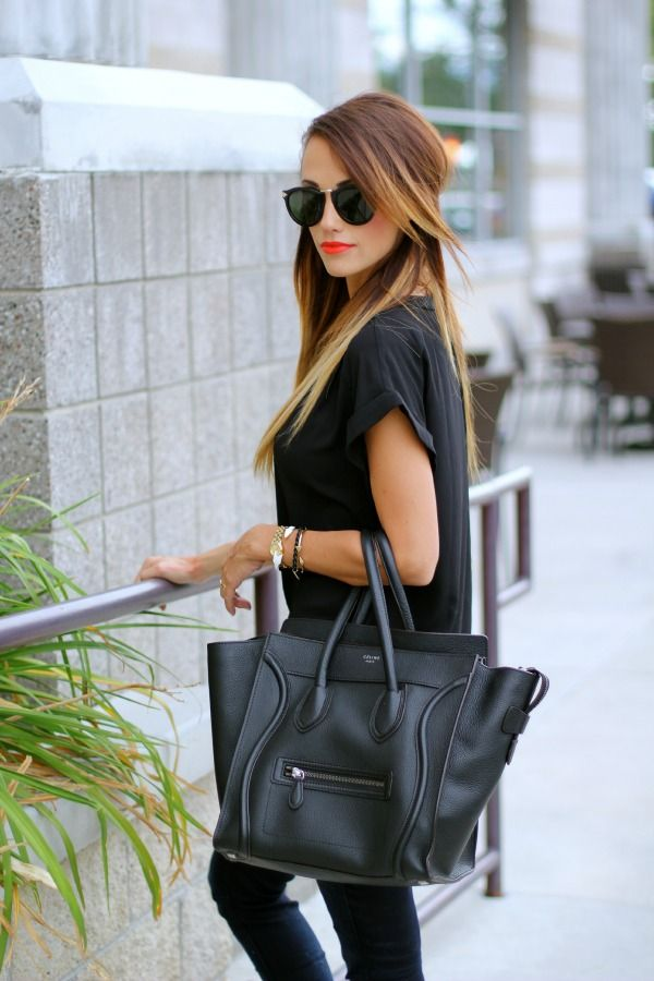 Love this outfit! Black on black, #céline