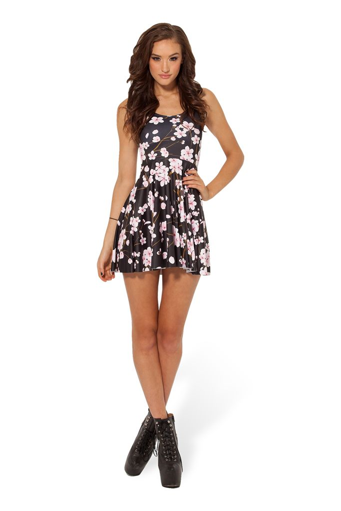 LOST PUPPIES Cherry Blossom Black Reversible Skater Dress by Black Milk Clothing $85AUD