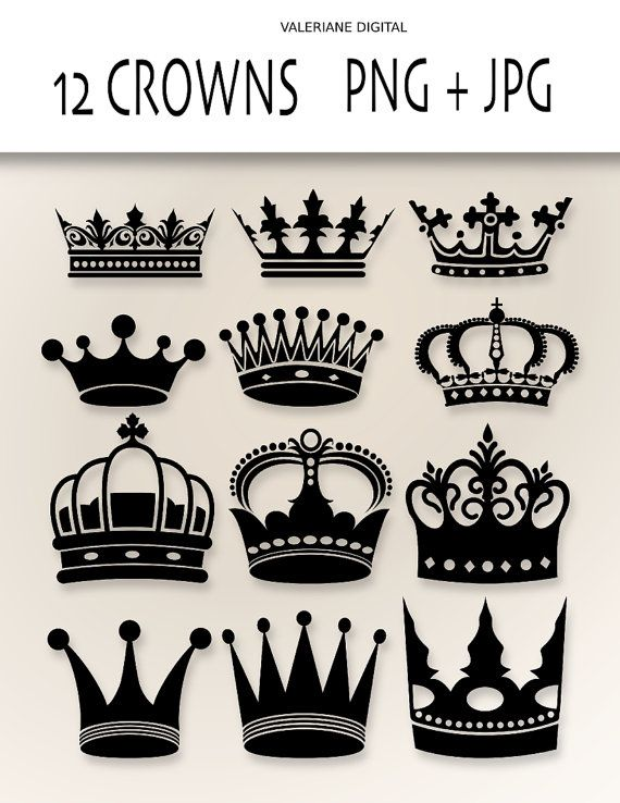 crown clip art digital clipart crowns for invitations scrapbooking png and jpg clipart. Black Bedroom Furniture Sets. Home Design Ideas