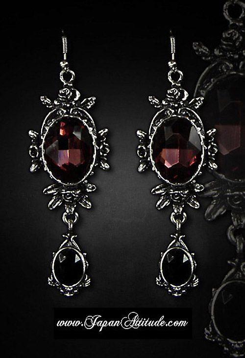 Boucles d'oreilles rouges et noires 'Wild roses' gothique romantique