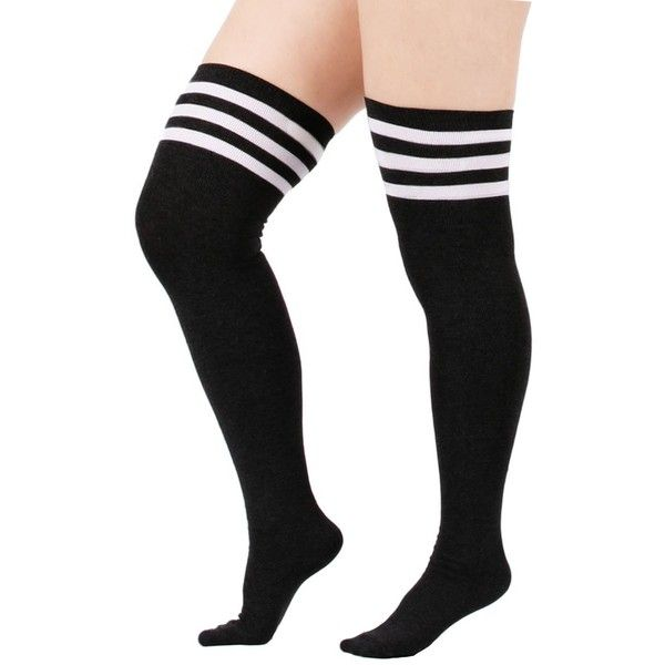 Zando Women's Stretchy Over the Knee High Socks Plus Size Thigh High... (27 BRL) ❤ liked on Polyvore featuring intimates, hosiery, socks, wide socks, knee socks, knee hi socks, white socks and plus size socks