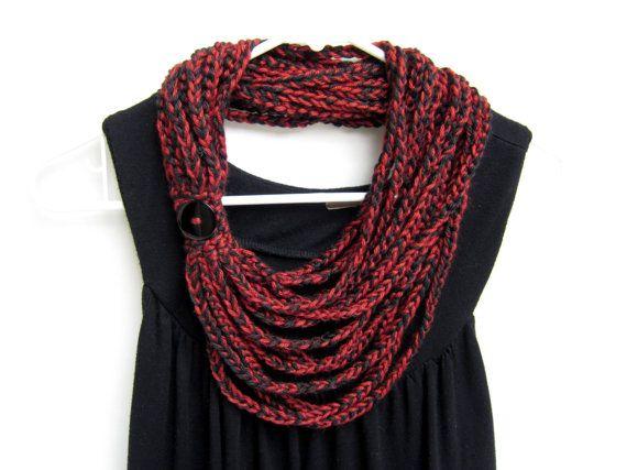 valentine's scarf - crochet chain scarf handmade by Rockin'Lola. $20.00, via Etsy.
