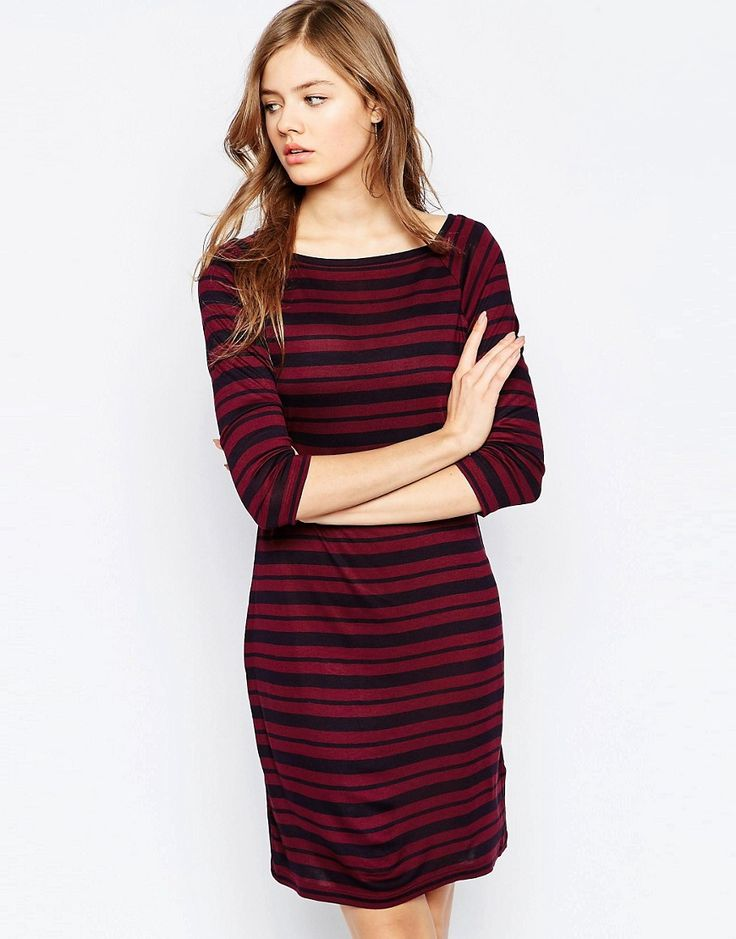 French Connection Mix It Up Stripe Dress In Pink