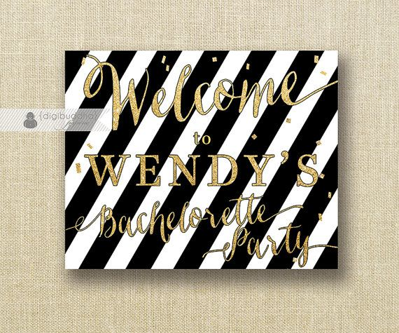 Black White Stripe Welcome Sign Gold Glitter Bachelorette Party Wedding Buffet Food Table Sign Printable 8x10 DIY Digital or Printed - Wendy...