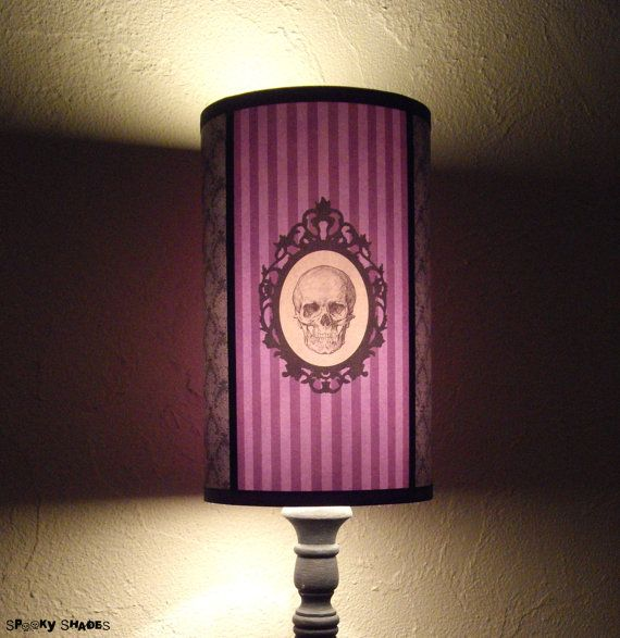 Baroque Skull Purple Lamp Shade Lampshade - skull lamp shade, skull decor, purple lamp, Halloween decor, customizable colors,goth decor on Etsy, $66.52